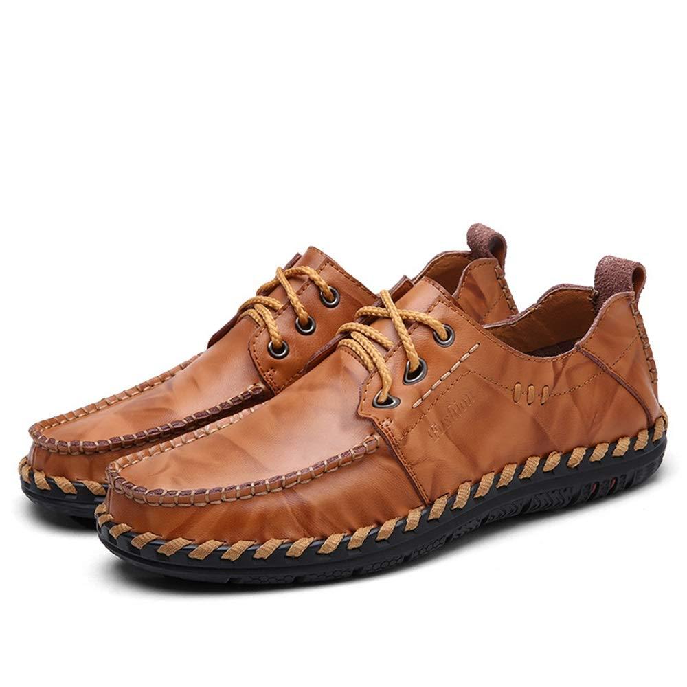 Qiusa   Herren echtes Leder Fashioni U-TIPP Schuhe Schnürung Runde Heand U-TIPP Fashioni Hand Made Derby (Farbe : Schwarz, Größe : EU 39) Braun 496410