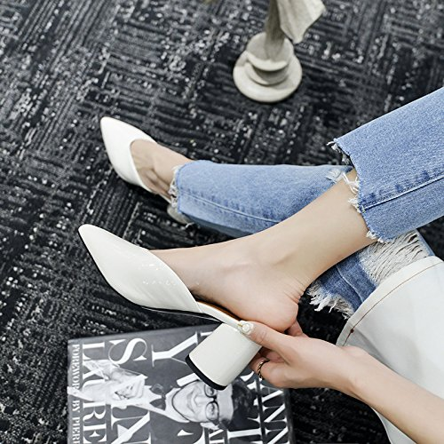 con 7cm Baotou alta scarpe AJUNR ruvida Moda Alla Donna Sandali Da bianco appuntito tacco 39 ad pantofole P6w6x0n