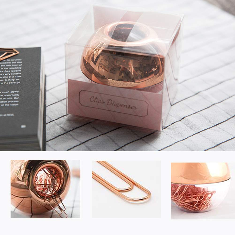 Rose Gold Paper Clips ,Light Luxury Fashion 100 pcs Paper Clips Holder 28mm in Magnetic Lid Acrylic Paper Clip Holder for Office Decor Desk Accessories