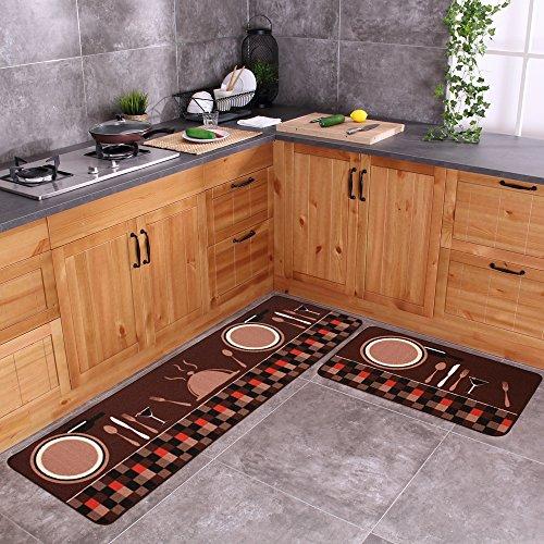 Carvapet 2 Piece Non-Slip Kitchen Mat Rubber Backing Doormat Runner Rug Set, Tableware (19″x59″+19″x31″)
