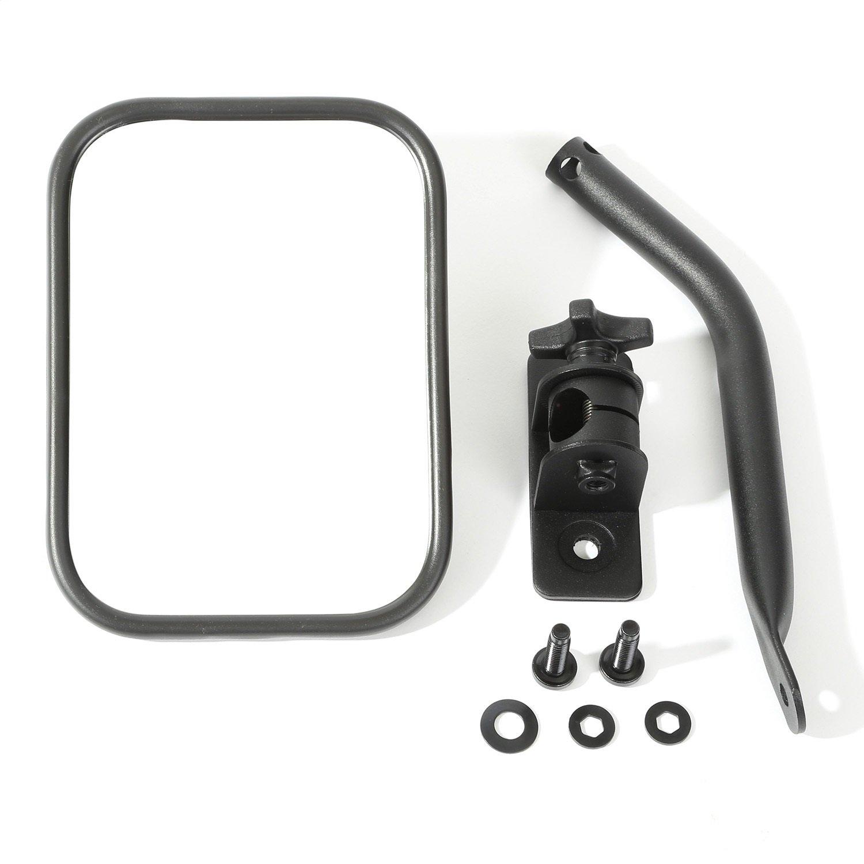 Rugged Ridge 11025.18 Textured Black Rectangular Quick Release Mirror Kit for 1997-2018 Jeep Wrangler
