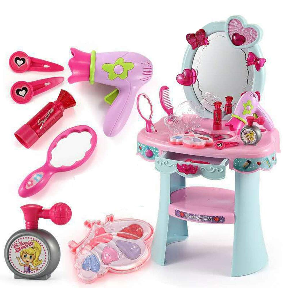 LIUFENGLONG Girls Dressing Vanity Table Play Set Child Girl Dressing Table Vanity Beauty Suit Princess Posing Toy Perfect Beauty Toy Set (Color : Blue, Size : 563223CM)