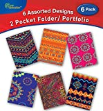 New Generation - Ethnic - 2 Pocket Folder/Portfolio, 6 Pack, 3 Hole Punch - 6 Folders per Pack,Assorted 6 Fashionable Designs,UV Laminated Folders, Back to School/Campus Supply. (6 Pack)