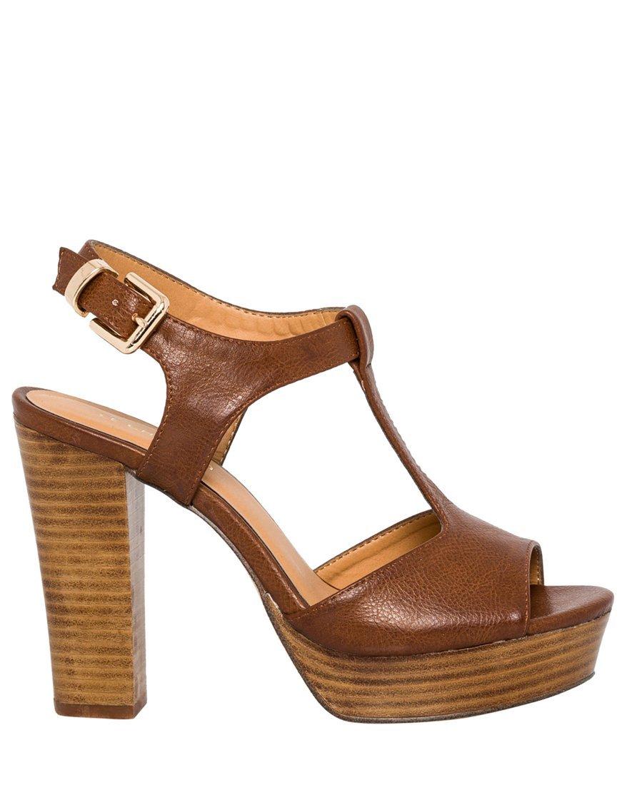 LE CHÂTEAU Women's High Wooden Block Heel T-Strap Sandal,39,Brandy
