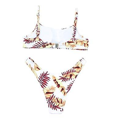bde47e009f SUNBIBE Womens Sexy Spaghetti Strap Leaf Print Cutout Cheeky High Waist  Thong Bikini Sets Swimwear White