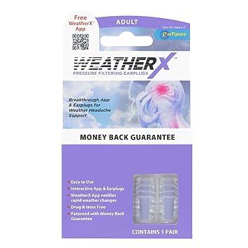 WeatherX, Pressure Filtering Earplug for Shifts in Barometric Weather  Pressure, Download Free Alert app