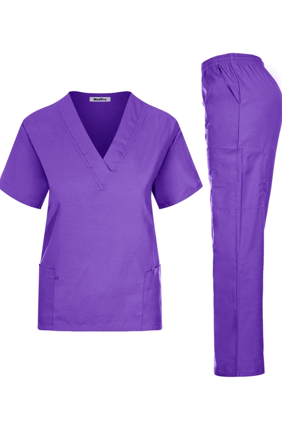 MedPro Women's Solid Medical Scrub V-Neck Top and Cargo Pants Iris L