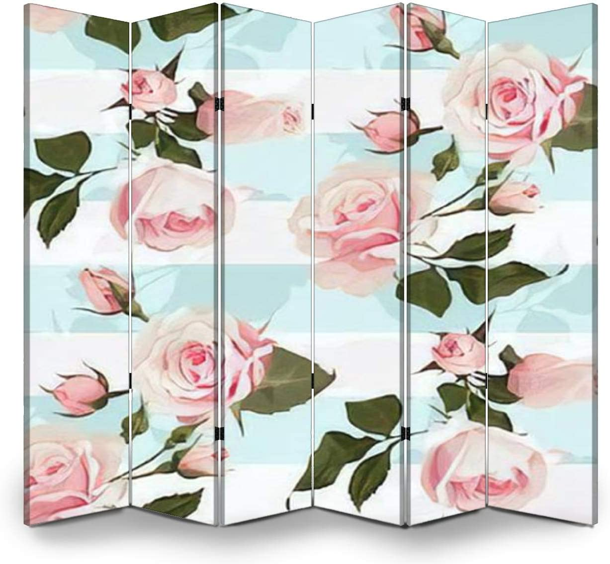 Wood Screen Room Divider Pink roses on a mint green stripes vector seamless pattern Flowered Folding Screen Canvas Privacy Partition Panels Dual-Sided Wall Divider Indoor Display Shelves 6 Panels