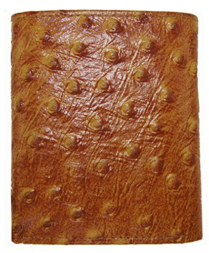 AG Wallets Genuine Leather Men's Ostrich Skin Embossed Trifold Wallet (Tan)