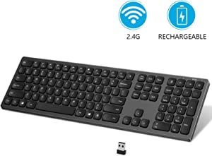 USB Wireless Keyboard, seenda 2.4GHz Rechargeable Compact Full-Size Keyboard with Numeric Keypad for Computer, Desktop, PC, Laptop, Surface, Smart TV and Windows 10/8/ 7 (Black and Grey)