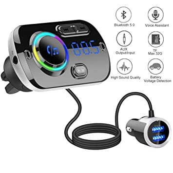 Bluetooth Car FM Transmitter,HIDOU Bluetooth 5 0 Car Radio Adapter Receiver  with 7 Color Light,QC3 0/2 4A USB Car Charger Kit,Siri Google