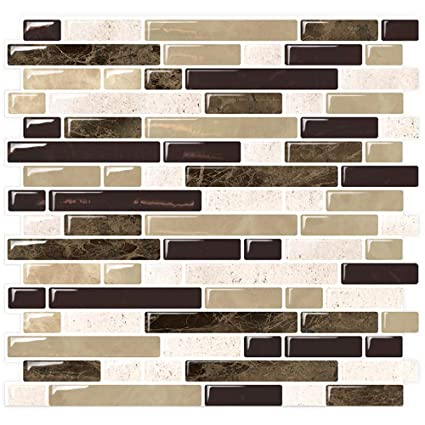Stickgoo Marble Look Peel And Stick Backsplash Self Adhesive Vinyl Wall Tiles Stick On Tile For Kitchen Shower Pack Of 5 Thicker Design