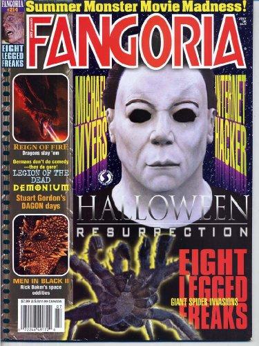 Fangoria Magazine 214 HALLOWEEN Reign of Fire EIGHT LEGGED FREAKS Dagon STUART GORDON July 2002 C ()
