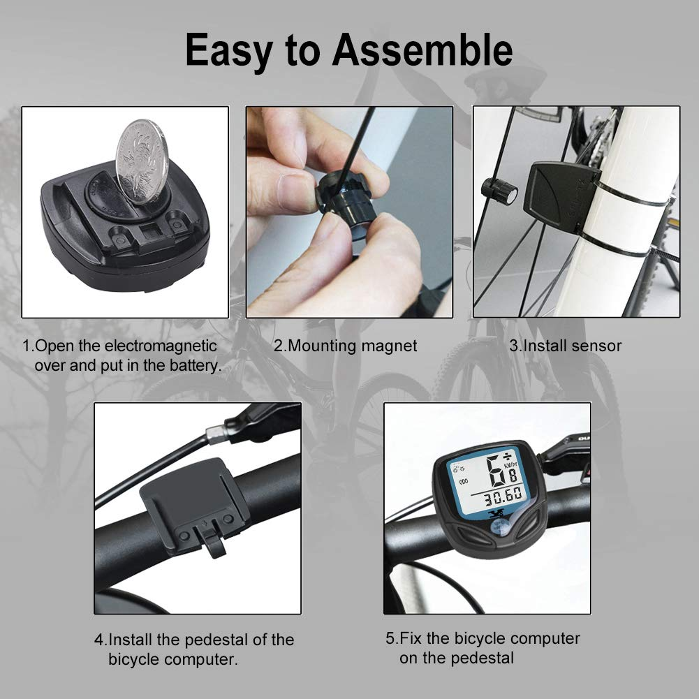 Fahrrad-Tachometer Fahrrad-Kilometerz/ähler mit Automatisches Aufwachen und LCD-Hintergrundbeleuchtung Drahtlos DINOKA Fahrradcomputer Digital Wasserdicht