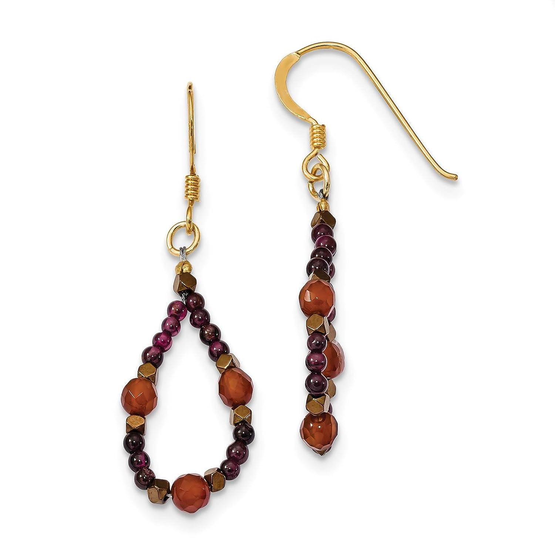 Garnet /& Hematite Dangle Earrings 925 Sterling Silver Gold-tone Carnelian