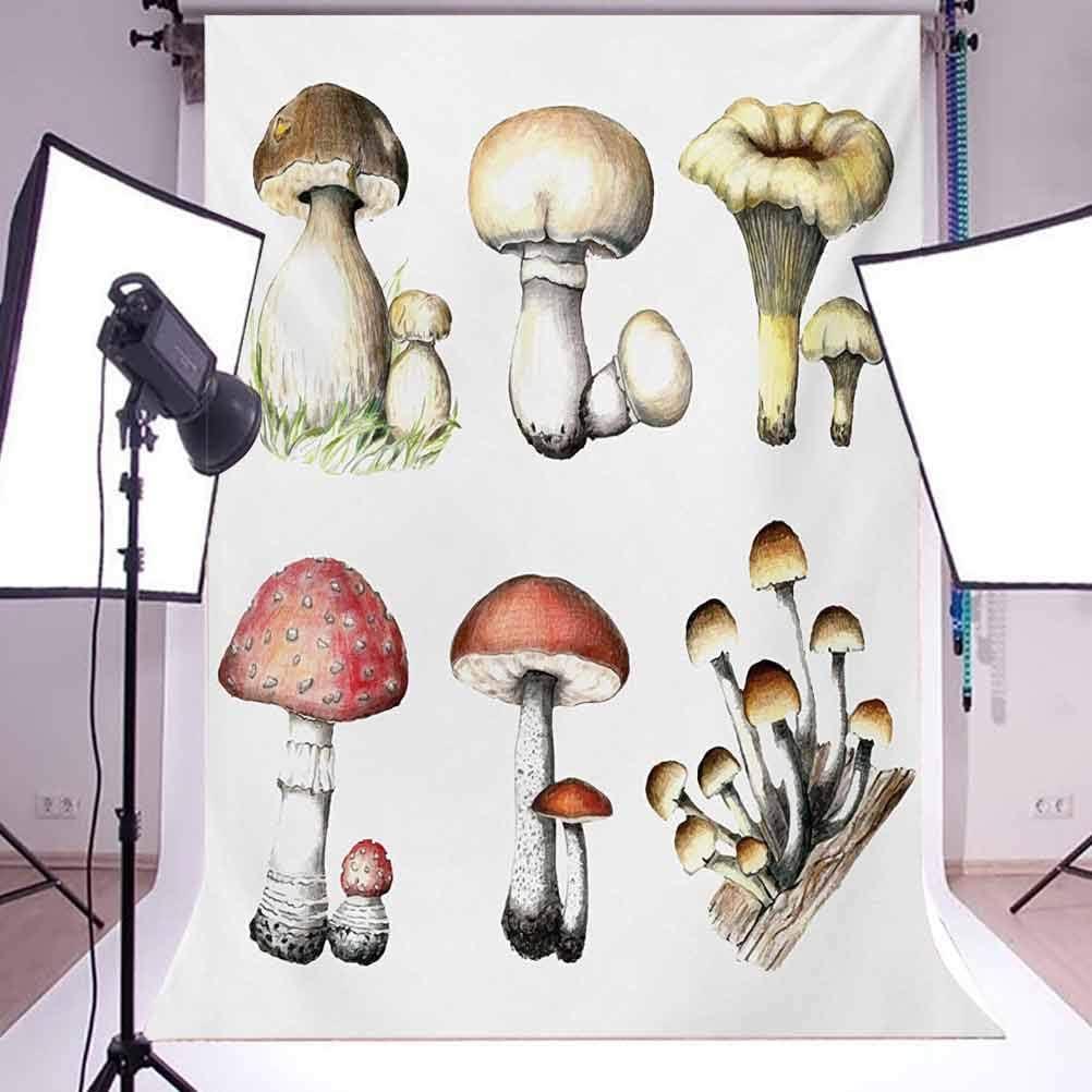 10x15 FT Backdrop Photographers,Hand Drawn Fungus Pattern Amanita Muscaria Boletus Champignon Retro Illustration Background for Photography Kids Adult Photo Booth Video Shoot Vinyl Studio Props