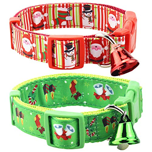 Bolbove Pack of 2 Adjustable Pet Christmas Festive Santa Bell Collars for Dogs Holiday Season (Small, Red Snowman + Deep Green Jingle Bell)