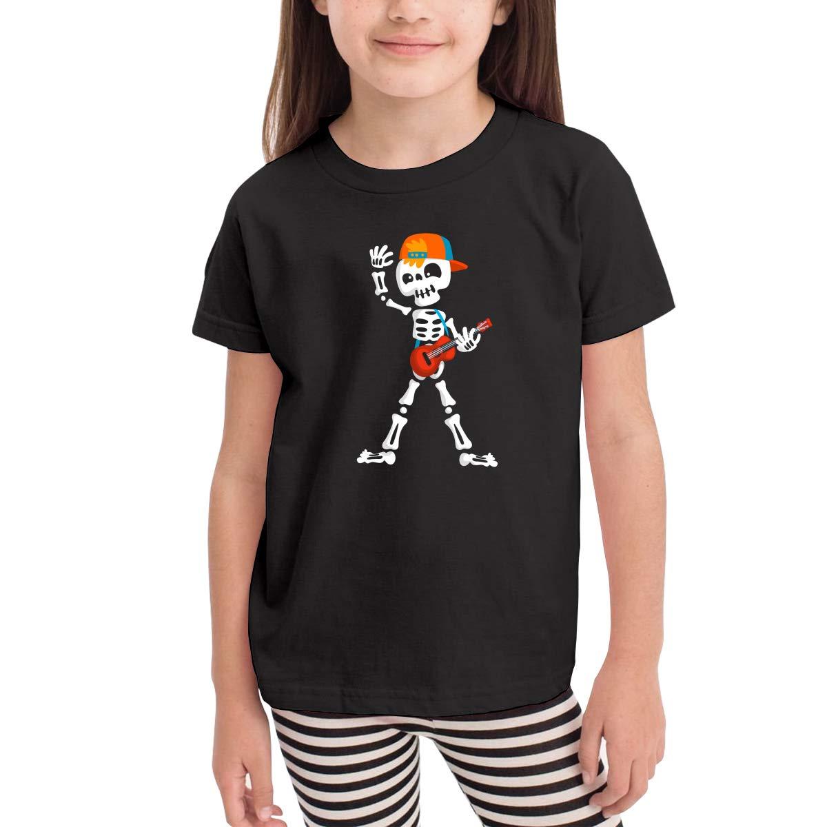 Onlybabycare Creepy Skeleton Playing Guitar Toddler Boys Girls Short Sleeve T Shirt