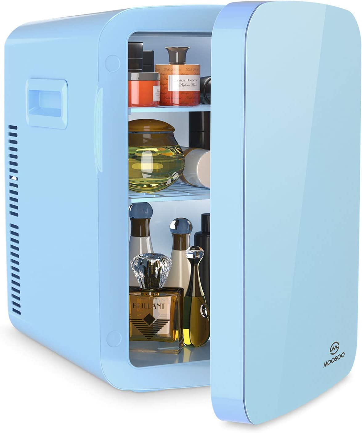 MOOSOO Mini Fridge for Bedroom, 15L Skincare Fridge with AC & DC Power, for Home & Car, Small Fridge for Skin Care, Cosmetics, Snacks and Drinks Storage, Compact Beauty Fridge, Portable Cooler/Warmer