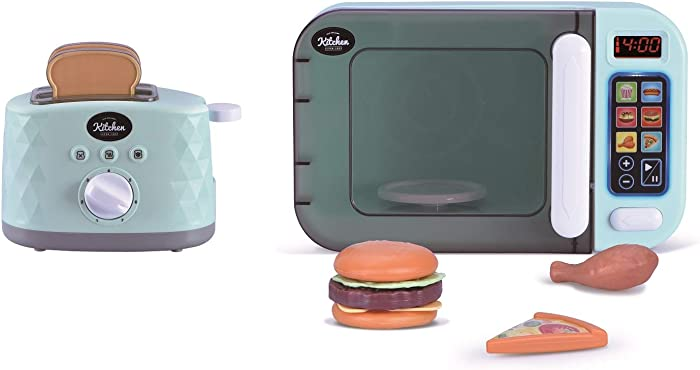 Oojami My First Kitchen Appliance Microwave and Toaster Set Includes Fake Food Pretend Play Realistic Sounds and Lights Makes an Ideal Gift for Kids 3 Years and Older