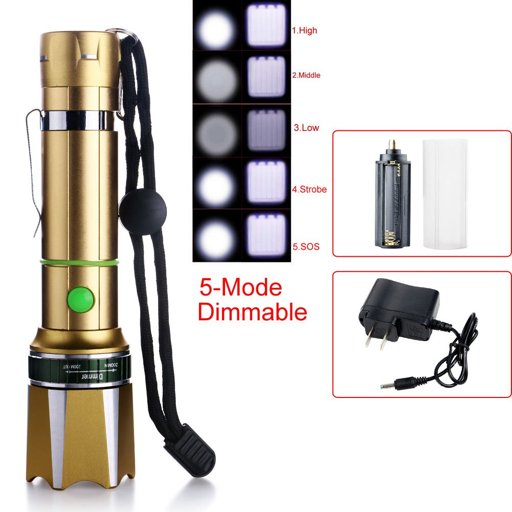 Zlimio Led Flashlight , NEW 3000 Lm T6 LED Zoomable Focus Flashlight Torch Gold with Charger for Camping Biking Home Emergency or Gift-Giving by Zlimio (Image #2)