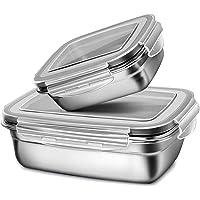 G.a HOMEFAVOR Fiambrera con Acero Inoxidable 2 Piezas Caja Bento Lunch Box para Niños Y Adultos con Tapa De Plástico…