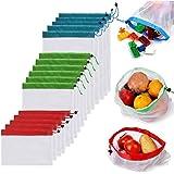 LETTURE Bolsas Reutilizables Compra, 16 Unidades Ecológicas Bolsa de Malla, para Almacenamiento Frutas/Verduras, Juguetes, La