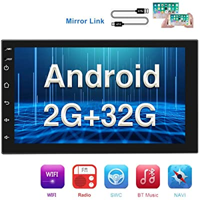 [2G+32G] Double Din Android Car Stereo with GPS 7 Inch Capacitance Touch Screen FM Radio Reciever Supports Mirror Link for iOS/Android Phones WiFi Connect + Backup Camera: GPS & Navigation