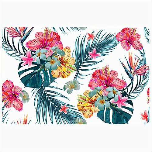 Ahawoso Indoor Bath Rug for Bathroom Non Slip Mats 20x30 Inch Monstera Floral Flower Bird Palm Plant Paradise Upholstery Texture Pattern Spring Hibiscus Nature Bathing Shower Doormat Rubber Mat (Upholstery Palm Springs)