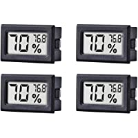 4-Pack Mini Hygrometer Thermometer Hygrometer Digital LCD Monitor Indoor Outdoor Humidity Meter Gauge for Humidifiers Dehumidifiers Greenhouse Basement Babyroom, Measure in Fahrenheit