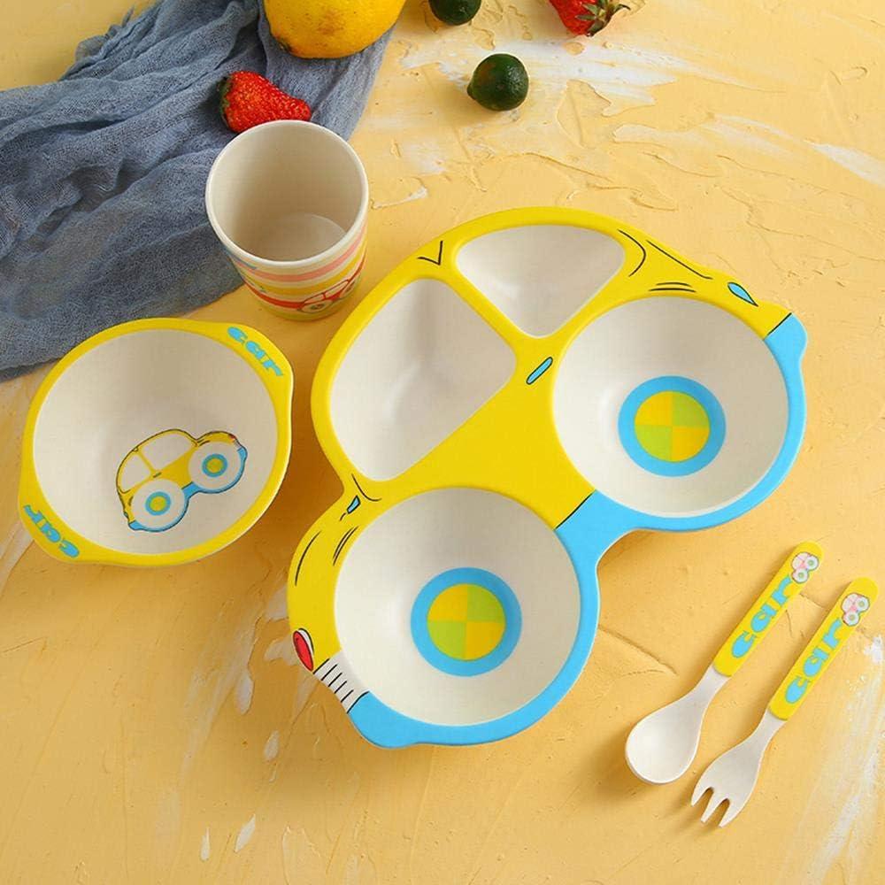 Platos de plato de alimentación para bebés Platos Tenedores Cuchara Cuchara Niños Vajilla Fibra de bambú Niños Placa de alimentación de separación de dibujos animados 5Pcs / Set, PJ3665D: Amazon.es: Hogar