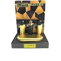 Clipper - Encendedor de metal con funda, color negro y dorado