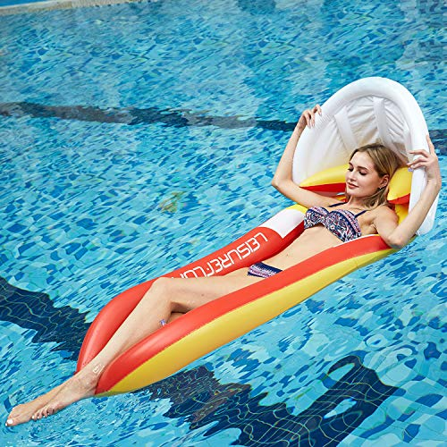 XYX Swim Inflatable Pool Float Lounge Raft with Canopy, Swimming Pool Lounge for Adults & Children