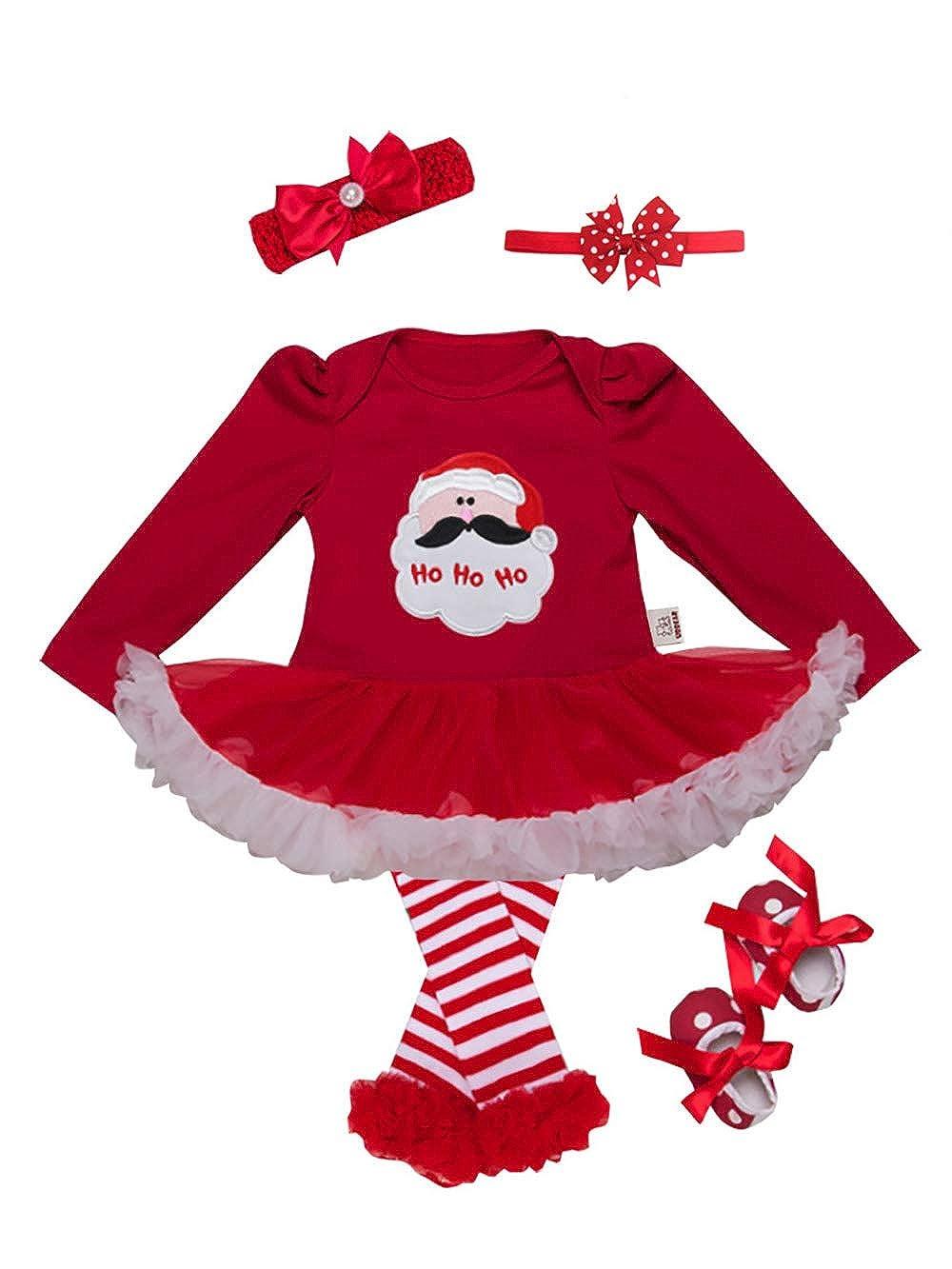 URBEAR Baby Mädchen Weihnachten Strampler Tütü Kleid Outfits 5 er Pack E80902SDR4