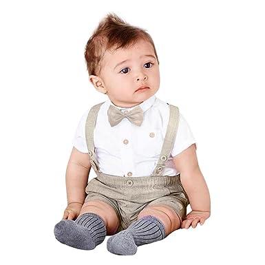 110d72c5b80f MML Baby Boys Clothing Set Kids Summer 3Pcs Bowtie Short Sleeve Shirt Top  +Suspenders Shorts Pants+ Bow Tie Outfits (12-24 Months, Khaki):  Amazon.co.uk: ...