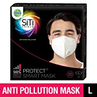 Dettol SiTi SHIELD Protect+ N95 Anti-Pollution Smart Mask, Unisex (Large)