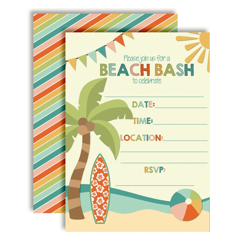 Beach Bash Summer Birthday Party Invitations, 20 5''x7'' Fill in Cards with Twenty White Envelopes by AmandaCreation