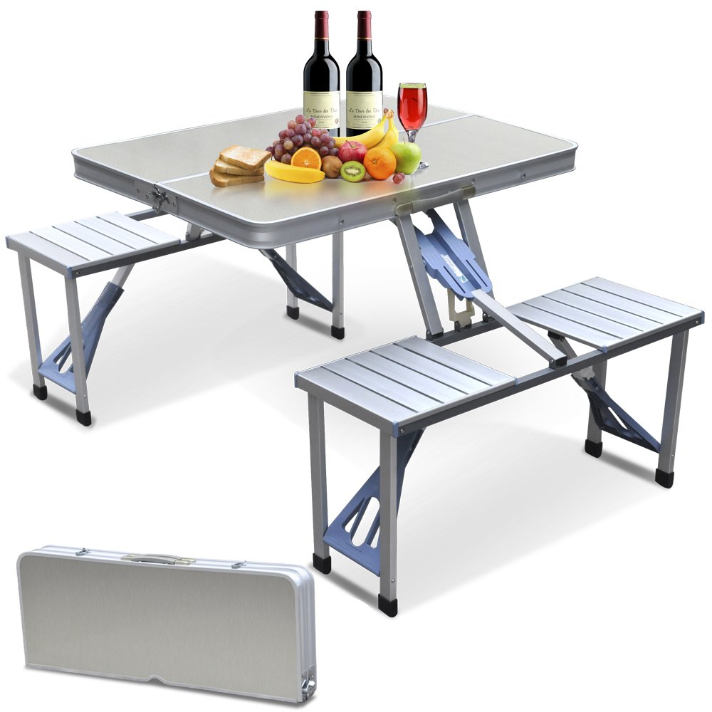 outdoortips tragbarer faltbarer campingtisch mit 4. Black Bedroom Furniture Sets. Home Design Ideas
