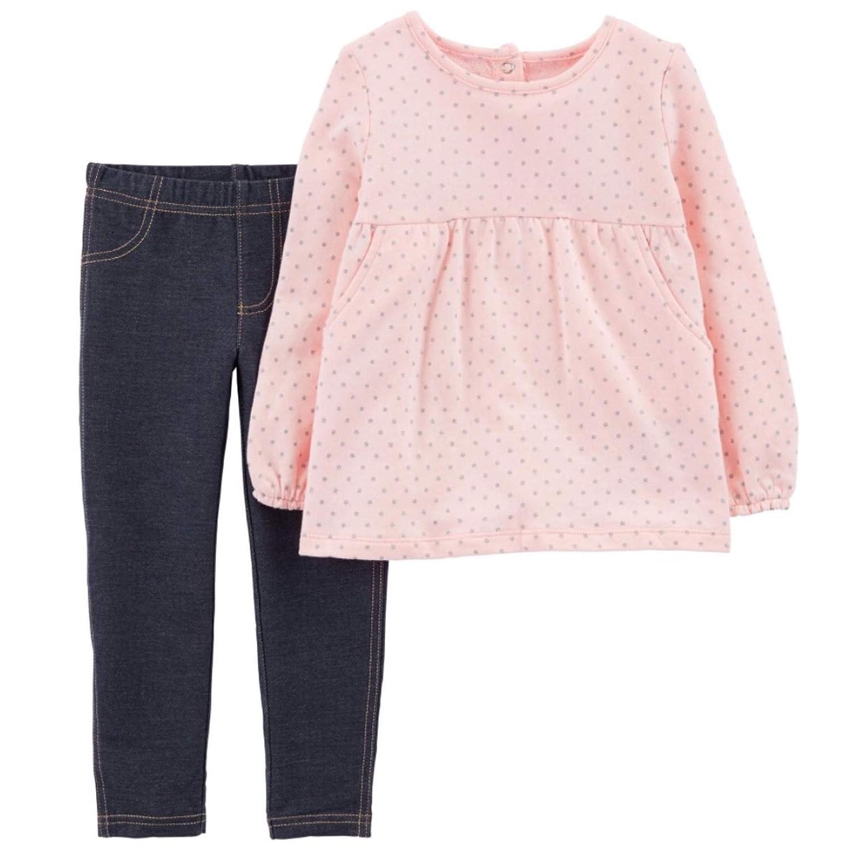 3T-5T Carters Girls 2 Piece Star Polka Dot Fleece Top and Jegging Set
