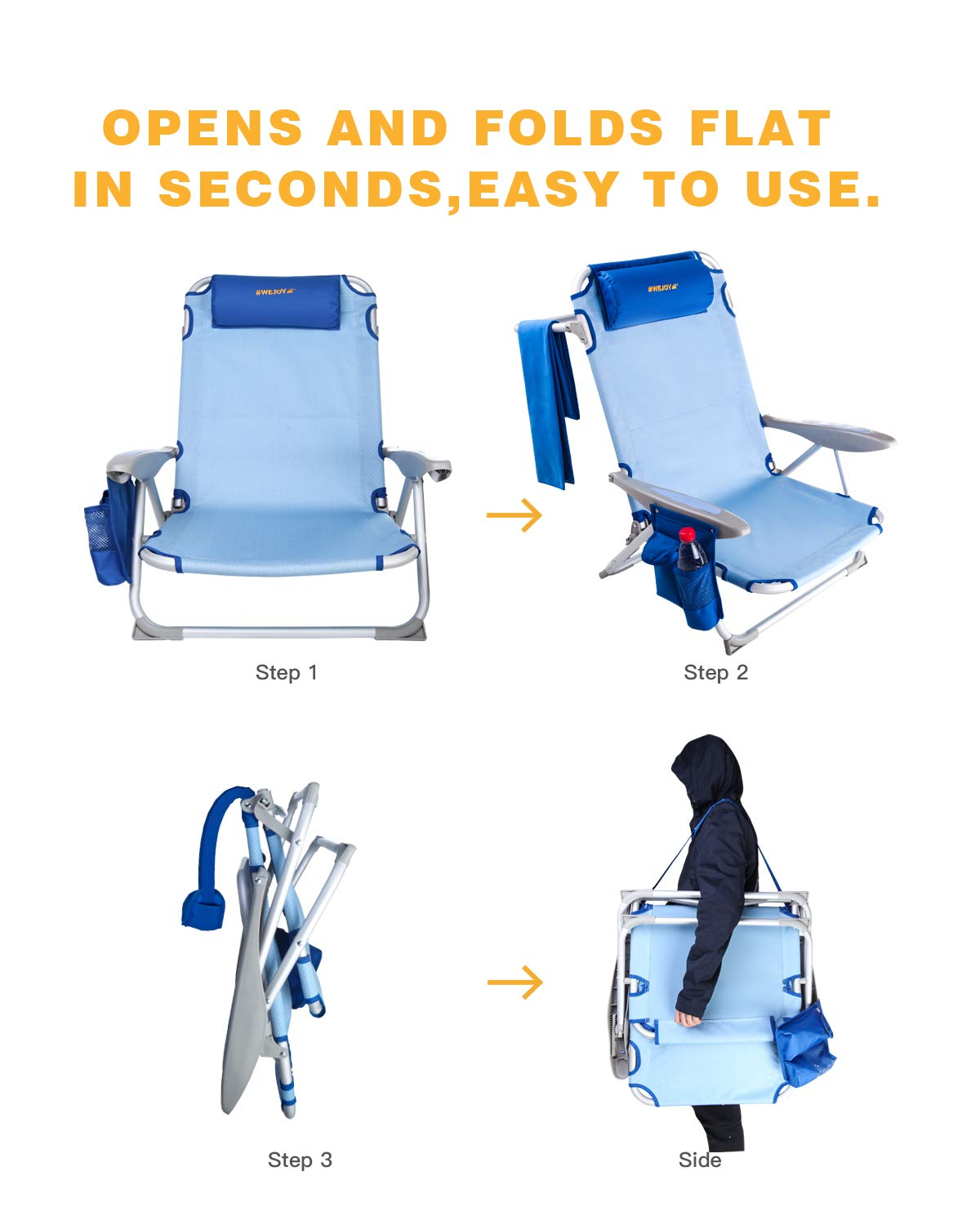Great for Outdoor Lawn Concert Blue #WEJOY Aluminum Lightweight Portable 4 Position Lay Flat Folding Camping Beach Chair with Shoulder Strap Cup Holder Pocket Armrest and Headrest