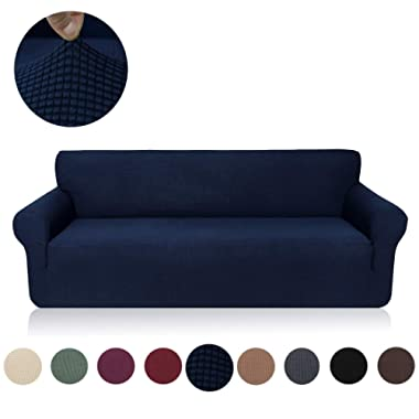 misaya Stretch Sofa Cover Soft Non-Slip Furniture Protector Jacquard Checks 1-Piece Couch Slipcover Sofa, Navy