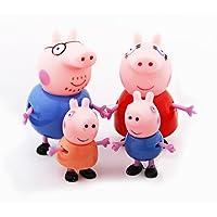 iDream Kid's PVC Pig Family Toy Set Action Figure 9cm and 5.8cm (Multicolour)-Set of 4