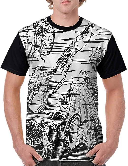 BlountDecor Printed T-Shirt,Giant Mammals of The Sea Fashion Personality Customization