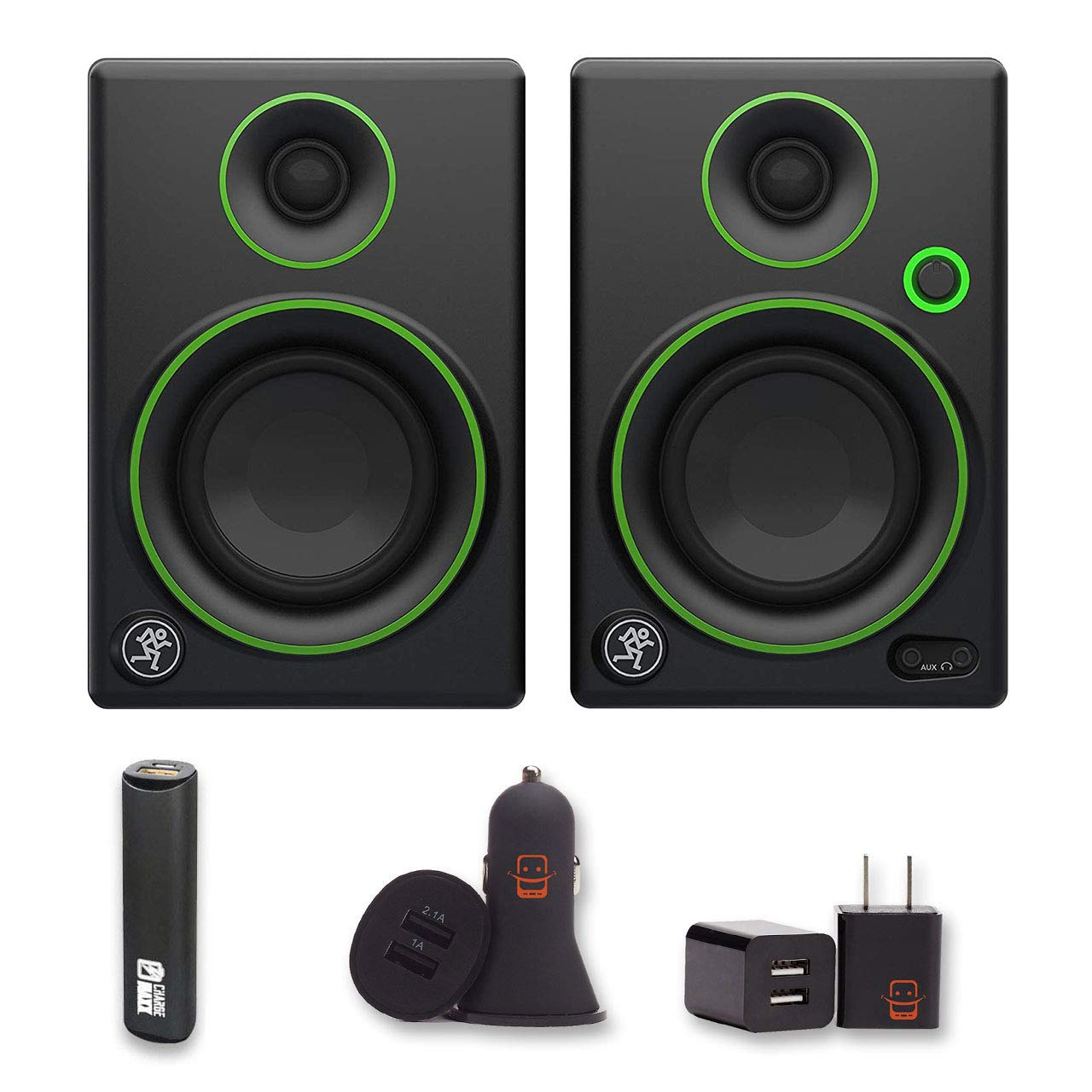 Mackie CR3 CR Series 3'' Creative Reference Multimedia Monitors (Pair) Bundle with PowerBank + USB Car Charger + USB Wall Charger (5 Items)