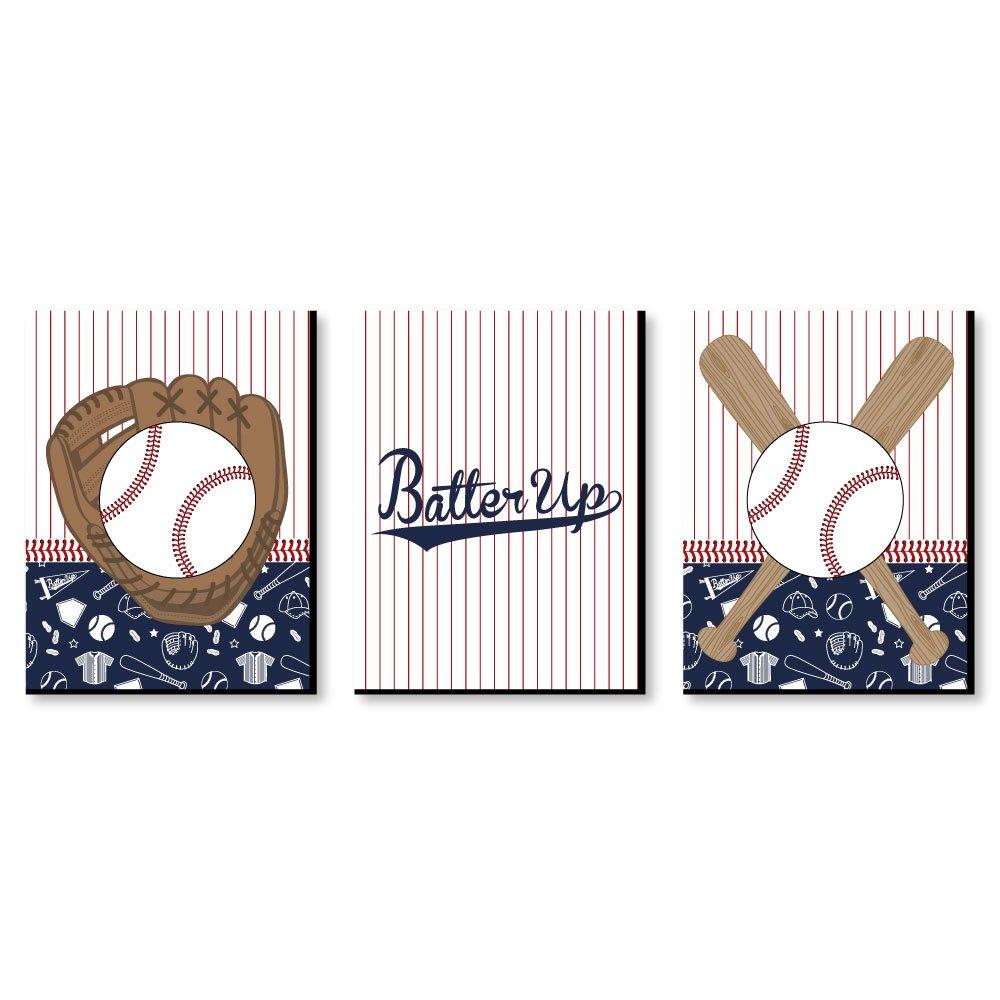 "Batter Up - Baseball - Sports Themed Wall Art & Kids Room Decor - 7.5"" x 10"" - Set of 3 Prints"