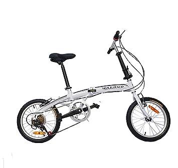 MASLEID Blanco bicicleta plegable ligera de 16 pulgadas