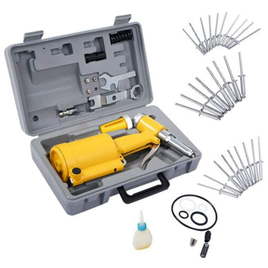 Air Hydraulic Pop Rivet Gun, Pneumatic Air Hydraulic Pop Rivet Gun Riveter Riveting Tool W/Case - 3/16 in, 5/32 in, 1/8 in, 3/32 in (90 PSI, Yellow) by Bouanq