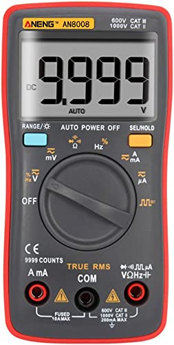 Alloet AN8008 True-RMS Digital Multimeter Square Wave Voltage Ammeter MAX Display 9999 Counts Auto Manual Ranges True RMS