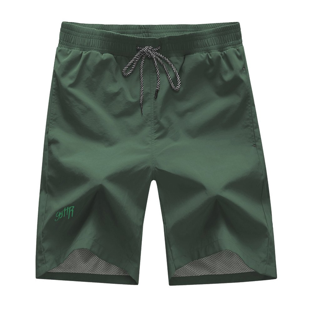 Earth Window Men's Beachwear Slim Fit Quick Dry Board Shorts Swim Trunks with Mesh Lining (Small, Army Green)