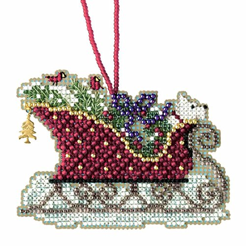 Mill Hill Evergreen Sleigh Beaded Cross Stitch Kit Charmed Ornaments 2017 Sleigh Ride MH161734 ()